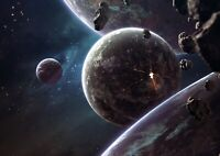 Awesome Asteroid Planets Poster Size A4 / A3 Outer Space Poster Gift #14114