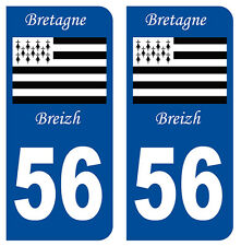 56 MORBIHAN BREIZH DEPARTEMENT IMMATRICULATION 2 X AUTOCOLLANTS STICKERS AUTO