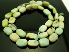 """Natural Peruvian Opal Nugget Blue Green Smooth Oval Gemstone Beads 14"""" Strand"""