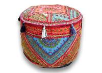 Bohemian Living Room Pouf Cover Round Patchwork Embroidered Pouffe Ottoman Cover