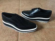 8e364aa106b6 New PRADA Wingtip Brogue Platform Sneakers  975 Size 39 Black