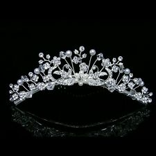 Bridal Rhinestone Crystal Pearl Flower Prom Wedding tiara Hair Comb 8234