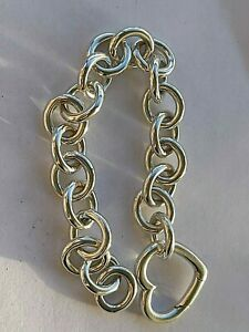 "Vintage 925 Sterling Silver Tiffany & Co. heart bracelet, length 7 3/4"""