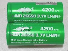 2 Green Efest IMR 26650 50A BATTERY 3.7v Rechargeable Li-MN 4200mAh w/ free case