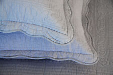 2 X Extra-large square misty blue stitch embroidered cushion cover with ties
