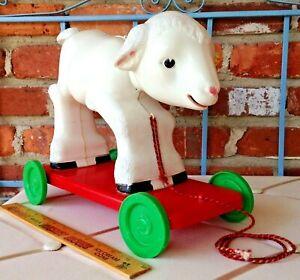 Vintage Knickerbocker USA Lamb - Hard Plastic Barn Yard Sheep Baby Pull Toy!