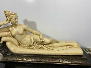 HUGE 42LB Signed A. SANTINI Classic Reclining Nude Resin Art Sculpture 24""
