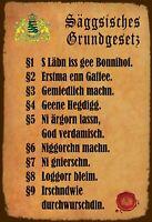 Säggsisches Grundgesetz Sachsen Blechschild Schild Tin Sign 20 x 30 cm FA1763