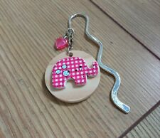 Silver Tone Wavy Bookmark with a Round Wooden Plaque Pink Elephant & Pink Heart
