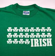 Vintage Mens M 80s Irish Shamrock St. Patrick's Day Graphic Green Hanes T-Shirt