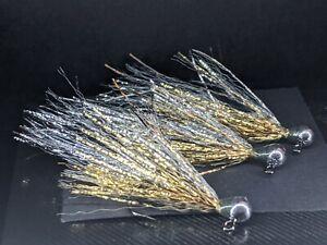3ea. Kreelex jig streamers size #6 in Silver/ Gold.