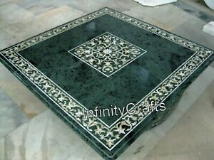 30 x 30 Inches Marble Conference Table Top Pietra Dura Art Green Coffee Table
