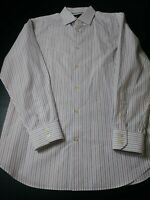 New Banana Republic Mens Non Iron Slim Fit Shirt Size L Red Blue Striped Long Sl