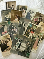 Lot 15 Vtg French France RPPC Real Couples Hand Colored Romance Love 012
