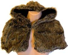 Faux Fur Fake Hood Cape Capelet Shoulder Cloak Lined Shrug Brown Winter Bride
