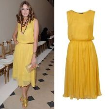 Topshop Yellow Chiffon Sleeveless Midi Dress UK8 US4 EU36