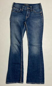 Silver Jeans Suki Surplus Women Size 25 Dark Wash Flared Meas (29×32)