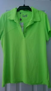 NWT Ladies UNDER ARMOUR NEON Lime Green Short Sleeve Golf Shirt sizes L & XL