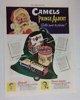 1943 Santa Claus Camel Cigarettes Prince Albert Tobacco Original Vintage Ad