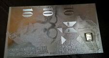 1 GRAM SILVER VALCAMBI SUISSE 999 Fine Bar in Silver Foil $10 Swiss Franken Note
