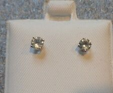 fine 14K white gold aquamarine pierced stud earrings