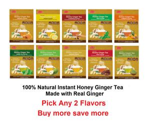 Pocas Natural Caffeine Free Instant Honey Ginger Tea 2 boxes 40 Bags- 10 Flavors