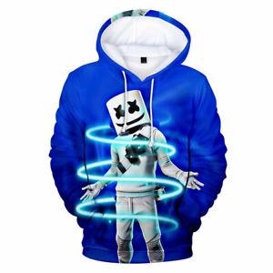 Nylon lightweight hoodie top 3D Print Fortnite DJ Marshmallow kids Boy Girl 6-18
