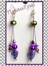 Crystal & Pearl Dangle Earrings.....Purples/Magenta..Silver Plated Hooks...