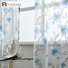 NAPEARL 1 Panel Modern Window Sheer Curtains Bedroom Floral Design Tulle Drapes