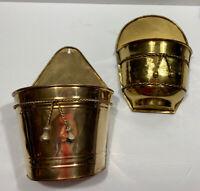 2 Vintages Brass Wall Planter Pocket Sconce Mail holder Vintage Decor Plant Pot