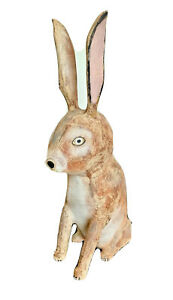 "27"" David Alvarez Vtg Carved Wood Carving Folk Rabbit Sculpture Santa Fe Mexico"
