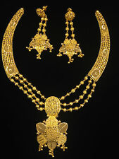Classy Handmade Dubai Necklace Earrings Set In Fine Hallmark 22Karat Yellow Gold