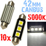10 Ampoule Navette 42mm 5000k LED 5050 ODB Blanc Interni Moto PLAQUE 12V 2D9 2D9