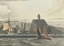 View Mary Port Harbour Shipyard Cumberland by W. Daniell c1816 hand colour print