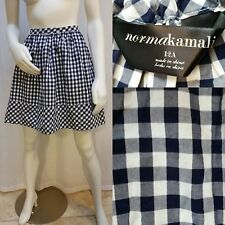 NORMA KAMALI Navy Blue/White Gingham Check Skirt Size 12A 100% Cotton