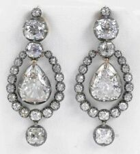 925 Sterling Silver Dangling Pear Vintage Style Handmade CZ Wedding Earrings