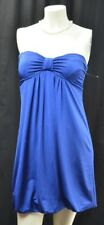 Forever 21 dress blue Jersey Knit Strapless Empire Stretch slinky mini pad M NEW