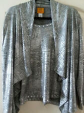 Silver and hint of Black metallic top with jacket attached and silver studs