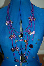 New 5 Graduated Chains Purple seed beads with larger shell & Flat Oval Necklace