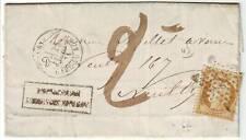 10 c SIEGE N° 36 obl etoile lettre de PARIS pour NEUILLY et TAXEE 2 !! juil 1871