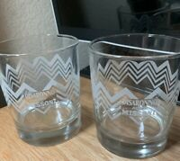 DISARONNO WEARS MISSONI GLASSES SET OF TWO ( 2 ) ROCKS GLASS ETCHED Promo