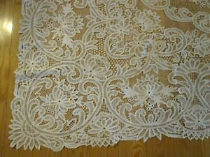 VINTAGE BATTENBERG LACE WHITE TABLECLOTH RECTANGLE 62 X 102 PRE-OWNED STUNNING!