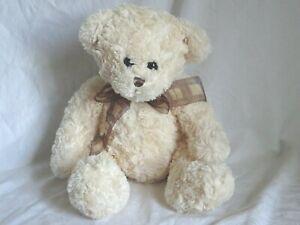 Tesco Cream Teddy Bear Soft Plush Toy 2007 Brown Checked chiffon Scarf