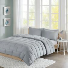 Full/Queen Avery Seersucker Down Comforter Mini Set Micro Fiber Grey Id10-869