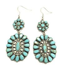 Handmade Cluster Turquoise Dangle Earring Native American Sterling Silver Navajo