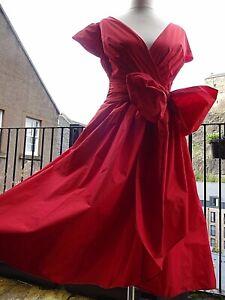 Vintage LAURA ASHLEY Red Princess Taffeta Wrap Tie Bow RRP £120 Dress Size 10 ❤️