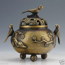 DELICATE CHINESE COPPER HANDWORK CARVED FLOWER BIRD INCENSE BURNERS
