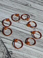 Knitting marker handmade beaded set of 8 Orange