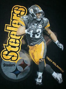 TROY POLAMALU T SHIRT Pittsburgh Steelers 43 Football Defense Hair YOUTH MEDIUM