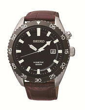 New Seiko SKA627 Kinetic Black Dial Men's Leather Strap Watch